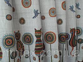 """Ткань для пошива скатертей рогожка Коты / """"Чарівна Ніч"""""""