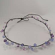 Вінок кришталева Тіара прозора Діадема гілка ручна робота прикраса для волосся фиолетоый