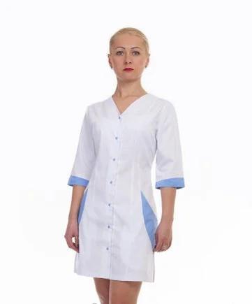 Медицинский халат с голубыми вставками
