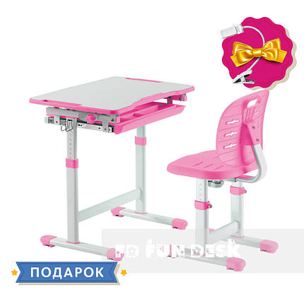 Комплект парта + стул трансформеры Piccolino III Pink FunDesk, фото 2