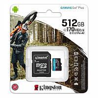 MicroSDXC  512GB UHS-I/U3 Class 10 Kingston Canvas Go! Plus R170/W90MB/s+ SD-адаптер (SDCG3/512GB)