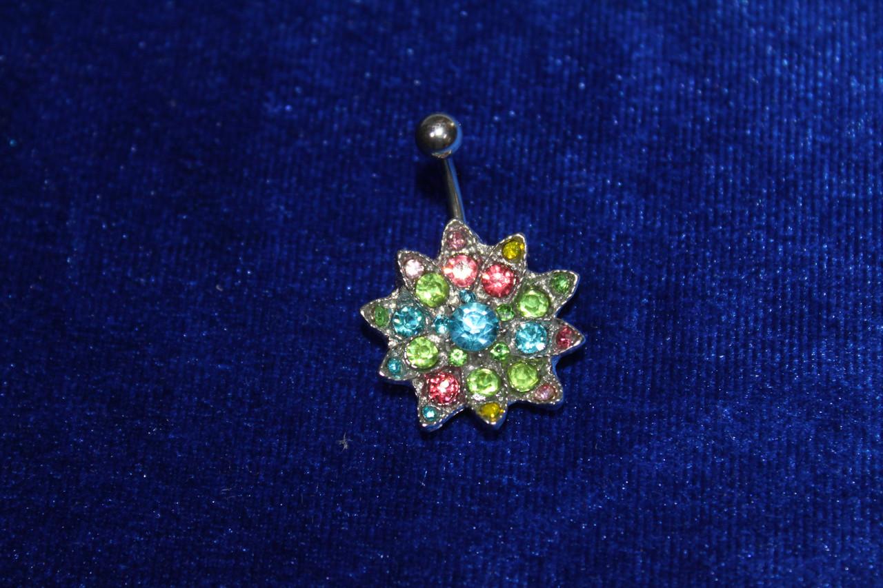 Роскошная сережка для пирсинга пупка серебристая с разноцветными камнями медицинская сталь 30 мм 1шт
