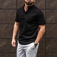 Мужская рубашка лен черная на короткий рукав
