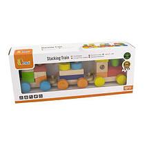 Дерев'яний поїзд Viga Toys Кольорові кубики (51610)