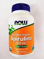Now Foods, Натуральна спіруліна, 500 мг, 180 рослинних капсул