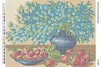 Схема для вышивания бисером ''Фиалки с клубникой'' А3 29x42см
