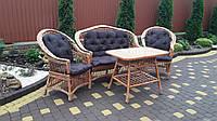 Плетеный набор мебели из лозы в комплекте из коричневыми подушками 2 кресла + диван+ стол