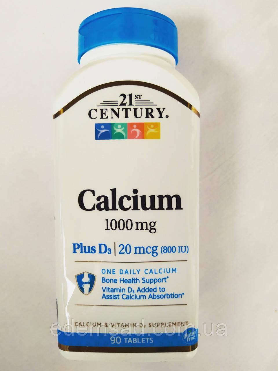 21st Century, кальций с витамином D3, 1000 мг, 90 таблеток