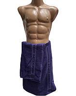 Набор для бани и сауны мужской, пототенце на липучке и полотенце для рук и лица, Massimo Monelli