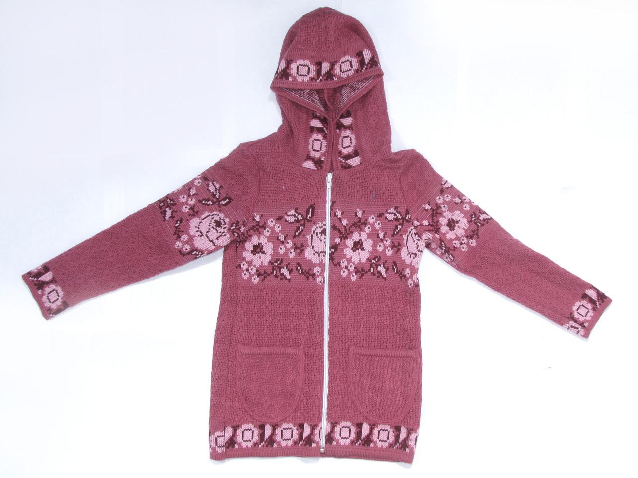 Свитер для девочки с капюшоном на молнии