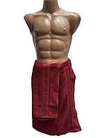 Мужской набор для сауны и бани, пототенце на липучке и полотенце для рук и лица, Massimo Monelli