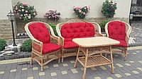 Плетеный набор мебели из лозы в комплекте из красными  подушками 2 кресла + диван + стол