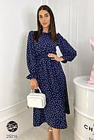Платье миди темно-синего цвета с принтом в горошек. Модель 25016. Размеры 42-52