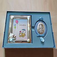 Набор детский серебряный рамочка Пупсик и икона Богородица с младенцем