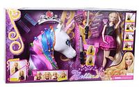 Кукла -модница и голова единорога девочкам для создания красоты причесок в коробке аксессуары