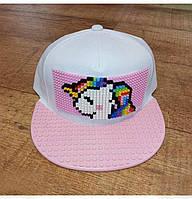 Кепка-конструктор с козырьком прямым с логотипом для девочек / бейсболки лего
