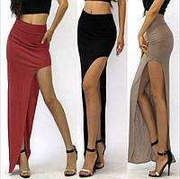 Длинная юбка с вырезом на ноге