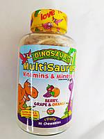 KAL, Dinosaurs, MultiSaurus, Vitamins & Minerals, Berry, Grape & Orange, 90 Chewables