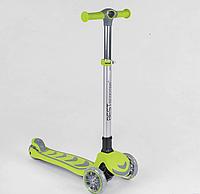 Самокат трехколесный для детей, колеса PU со светом, складной алюминиевый руль,  цвет салатовый.