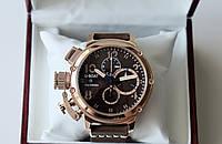 Мужские наручные часы U-boat Chimera Chrono Bronze 46 хронограф премиум класса на кожаном ремешке
