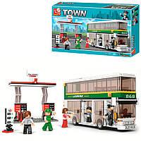 Детский конструктор двухэтажный автобус Sluban Town (403 детали)