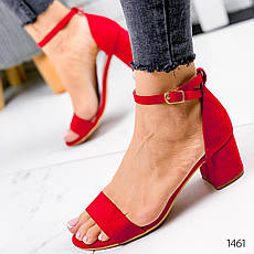 Босоножки женские красные на каблуке. Босоножки женские из эко замши. Босоніжки жіночі, фото 3