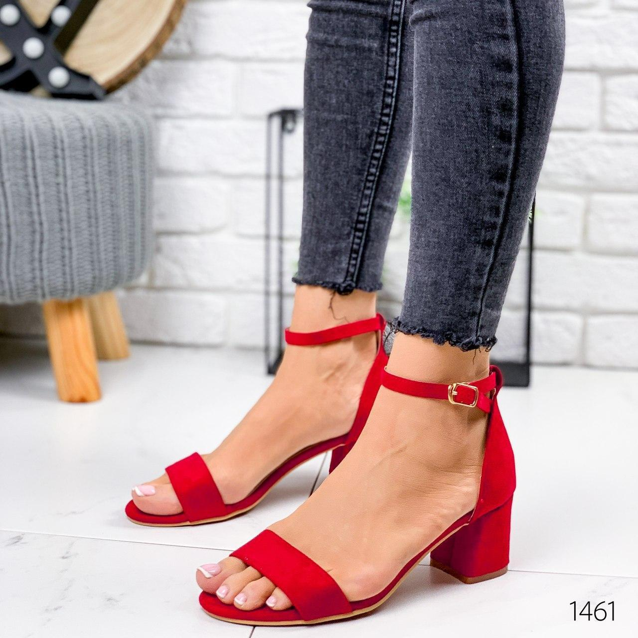 Босоножки женские красные на каблуке. Босоножки женские из эко замши. Босоніжки жіночі