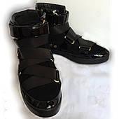 Ботинки женские United Nude, черные, натуральная лакированная кожа и замша, очень большой размер, 42,5/43