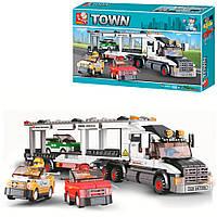 Детский конструктор автовоз с машинками Sluban Town (638 деталей)