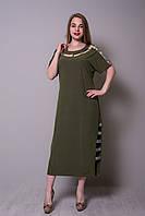 Легке довге літнє плаття хакі великих розмірів Розміри 52, 54, 56, 58., фото 1