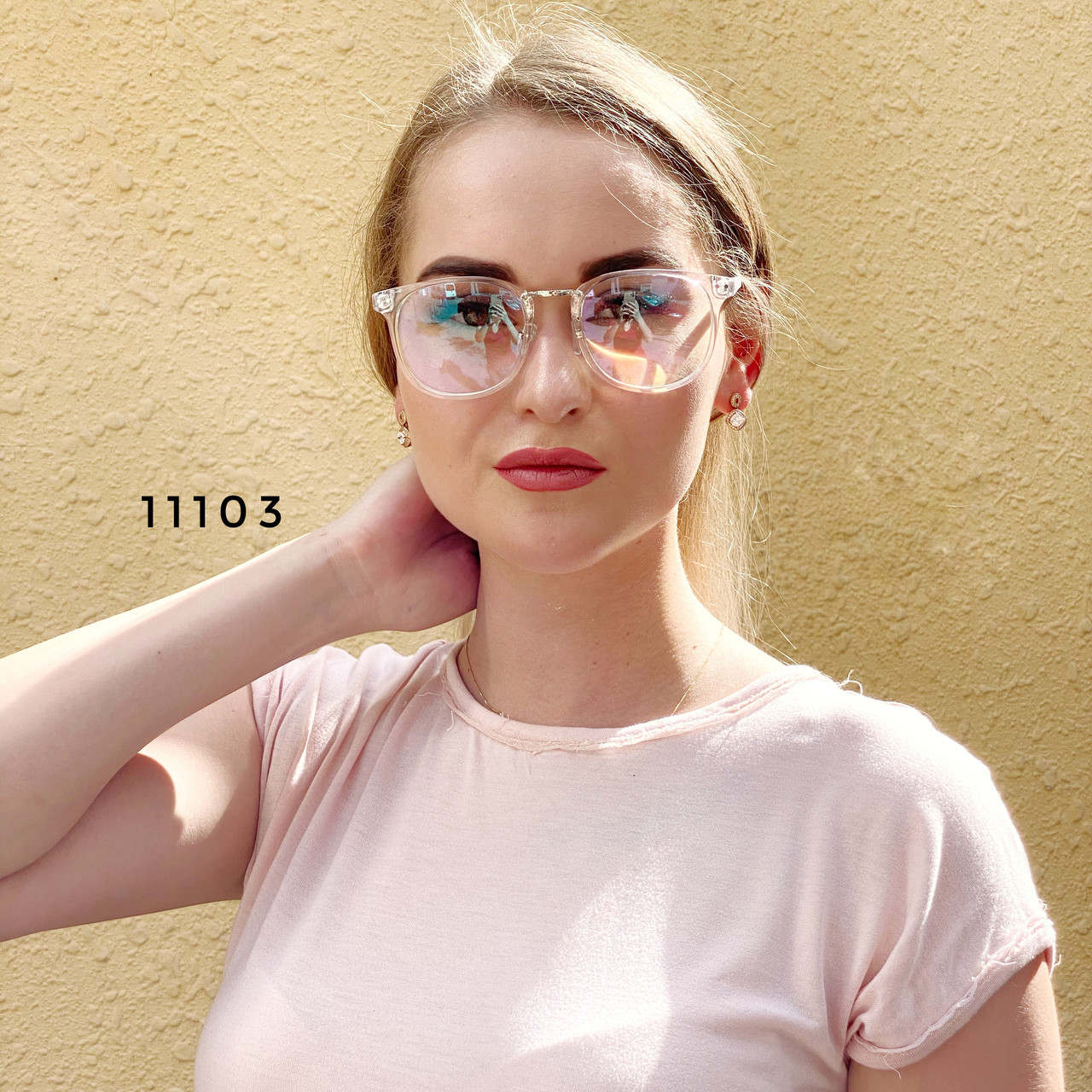 Имиджевые очки в прозрачной оправе с покрытием антиблик