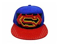 """Кепка-конструктор """"Super Man"""" с прямым козырьком с логотипом / бейсболки лего"""
