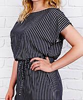 Платье больших размеров в полоску лето, штапель, черно-белое, размеры 46, 48, 50 ,52,54,56