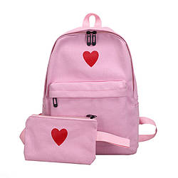 Рюкзак набор для девочки 2 предмета (пенал)с сердечком розовый.