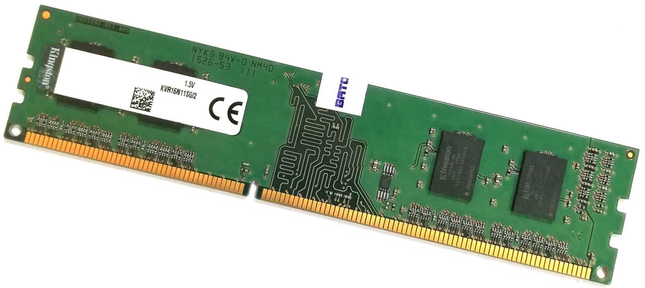 Оперативная память Kingston DDR3 2Gb 1600MHz PC3-12800U 1R16 CL11 (KVR16N11S6/2) Б/У