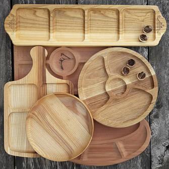 Менажниці дерев'яні, тарілки, дошки для подачі