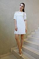 Коктейльное платье мини натуральное ЛЮКС-качество кружевное белое нарядное вечернее на свадьбу и выпускной