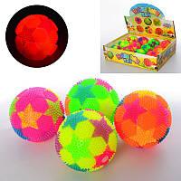 Мяч массажный MS 2392-13 пищалка,футбол,свет,бат (таб),12 шт (4цв) в дисплее 30-23-7,5 см