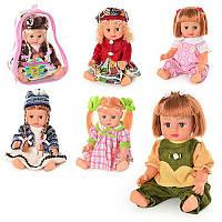 Кукла 5066-5069-5075-5076 в рюкзаке Оксаночка 6 видов, муз(укр), 28см