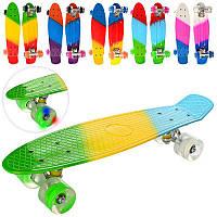 Скейт MS 0746-1 пенни,56,5-15см, алюм.подвеска,колесаПУсвет, подшABEC-7,радуга,микс цветов