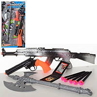 Набор с оружием 729-7-83 военный, автомат47см, топор, пули-присоски, 2вида(пистолет/меч), на листе 29-58-3см
