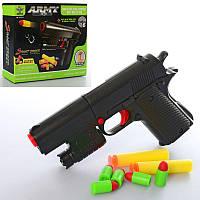 Пистолет SY021A мягкие пули-присоски 2 шт, пульки 5 шт, в кор-ке 17-13,5-4 см