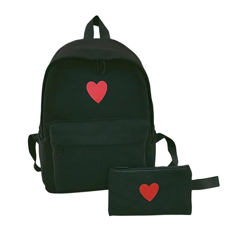 Рюкзак набор для девочки 2 предмета (пенал)с сердечком черный.