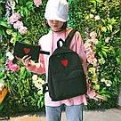 Рюкзак набор для девочки 2 предмета (пенал)с сердечком черный., фото 3