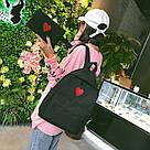 Рюкзак набор для девочки 2 предмета (пенал)с сердечком черный., фото 4