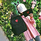Рюкзак набор для девочки 2 предмета (пенал)с сердечком черный., фото 5