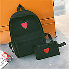 Рюкзак набор для девочки 2 предмета (пенал)с сердечком черный., фото 2