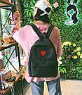Рюкзак набор для девочки 2 предмета (пенал)с сердечком черный., фото 6
