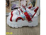 Босоніжки спортивні на високій платформі білі з червоним 37, 38, 40, 41 р. (2210), фото 4