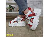 Босоніжки спортивні на високій платформі білі з червоним 37, 38, 40, 41 р. (2210), фото 3